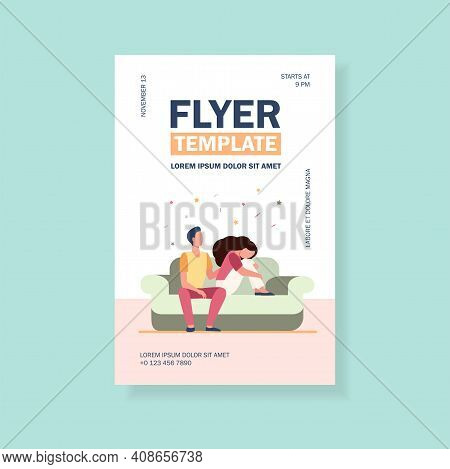 Boyfriend Holding Shoulder And Consoling Sad Woman. Sofa, Family, Support Flat Vector Illustration.