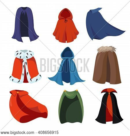Cartoon Capes Set. Cartoon Cloaks Or Mantles Of King, Vampire, Death, Magic Characters Costumes For