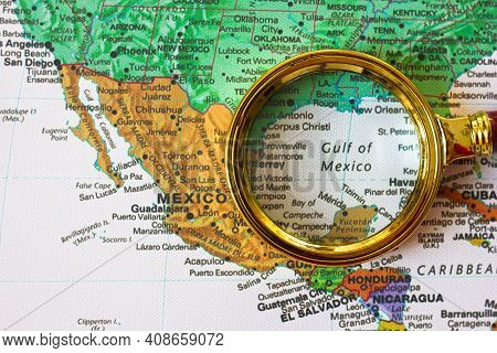 Lviv Ukraine-09 02 2021 : Gulf Of Mexico, Mexico And Other Countries  On A Map Of  South America  In