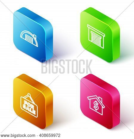 Set Isometric Line Warehouse, Garage, Hanging Sign With For Sale And House Dollar Symbol Icon. Vecto