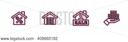 Set Line House With Percant Discount, Hanging Sign Sale, Garage And Skyscraper Icon. Vector