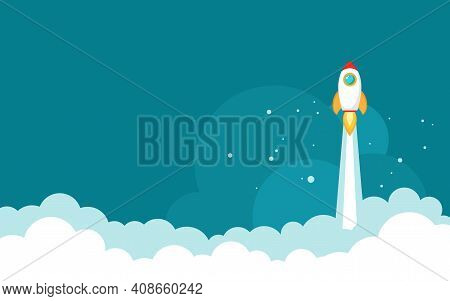 Rocket Ship With Space, Sky Clouds And Stars On Blue Background. Flat Icon. Vector Illustration With
