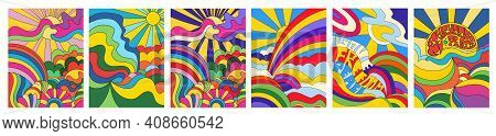 Set Of 6 Brightly Colored Psychedelic Landscape Posters Or Cards With Sun, Rainbow And Countryside I