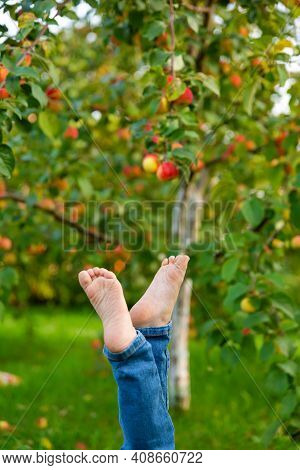 Child In Jeans Lifted Up Dirty Barefoot, Against Background Of Green Leaves. Hygiene And Health.