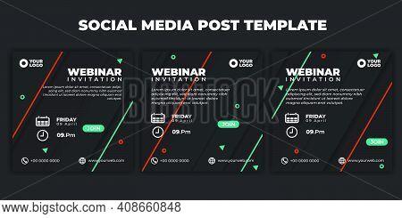 Social Media Post Template. Set Of Modern Social Media Geometic Design. Webinar Invitation Banner Wi