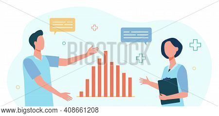 Two Analysts Discussing Graph Decrease. Data, Speech Bubble, Colleague Flat Vector Illustration. Sta