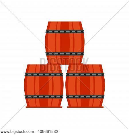 Wooden Barrel Vector Illustration Old Isolated White Keg. Alcohol Cask Wooden Barrel Beer Design Ret