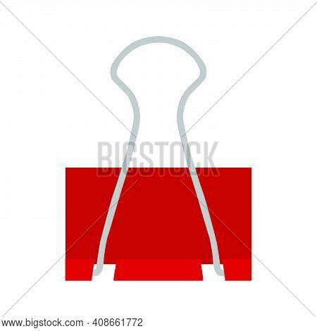 Paper Clip Binder Office Document Isolated White Icon. Metal Tool Vector Business Paper Clip Sign. F
