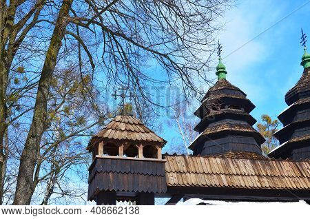 Ancient Wooden Church In The Museum Shevchenkivskyi Hai In The Fall