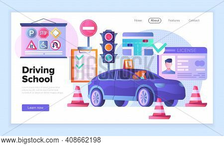 Web Page Template For A Driving School Showing A Car, Traffic Cones, Traffic Lights, Road Signs And