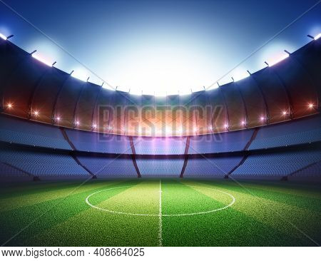 Soccer Field In The Sports Stadium. Lawn Illuminated In The Center By The Surrounding Lights. 3d Ill