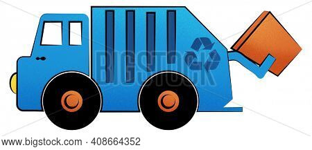 Cartoon Recycling Truck Illustration Isolated on White with Clipping Path.