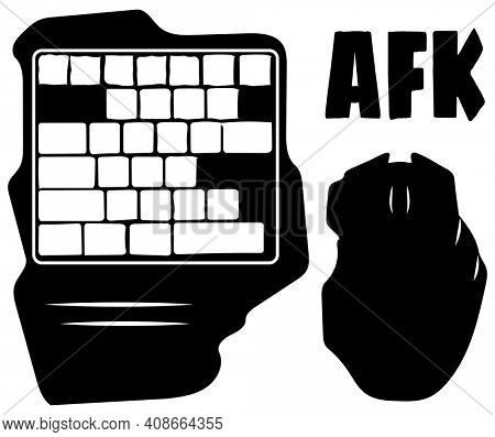 AFK GamePad and Computer Mouse Silhouette with Clipping Path Isolated on White
