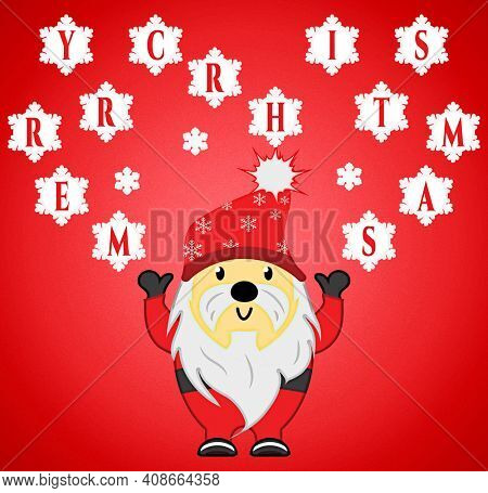 Santa Claus Throwing Merry Christmas Snowballs with Clipping Path