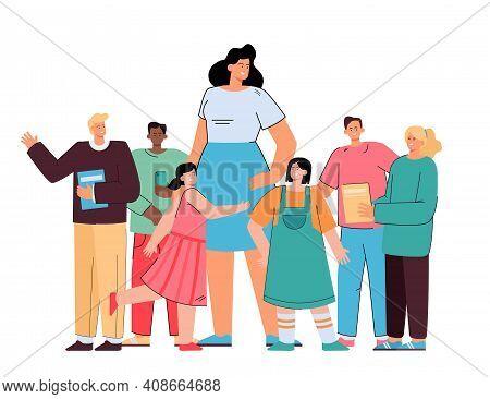 Happy School Teacher Standing With Pupils Flat Vector Illustration. Cartoon Group Of Joyful Kids Sta