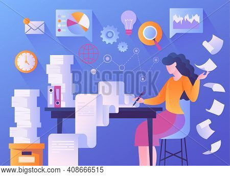 Asbtract Paperwork Concept With Woman Writing On Long Check List. Flat Cartoon Vector Illustration W