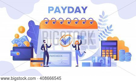 Abstract Payday Concept. Boss Standing Near Paycheck. Happy Female Worker Getting Salary. Flat Carto