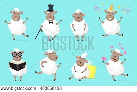 Fluffy Sheep Set. Funny Wooly Lamb Dancing, Running, Sleeping, Celebrating Birthday, Studying, Falli