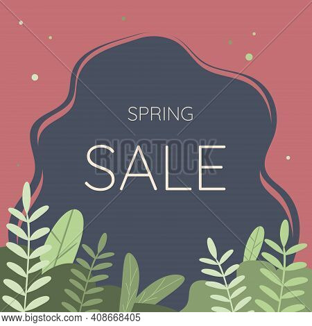 Spring Sale Typography. Vector Illustration. Spring Sale Lettering With Green Leaves For Greeting Ca