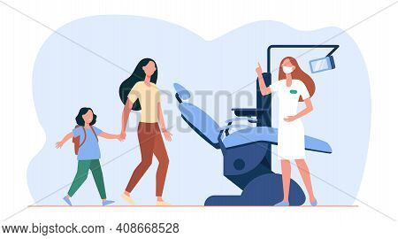 Mother And Scared Girl Going To Dentist. Caries, Tooth, Chair Flat Vector Illustration. Stomatology