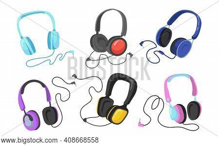 Modern Headphones Flat Illustration Set. Cartoon Headsets And Earphones For Listening To Music Isola