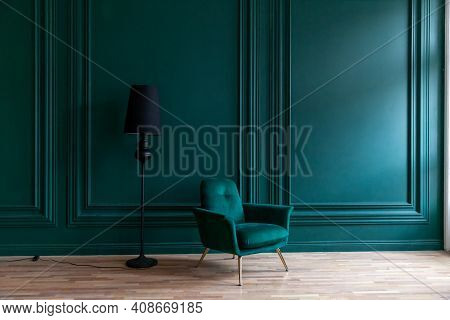 Beautiful Luxury Classic Blue Green Clean Interior Room In Classic Style With Green Soft Armchair. V