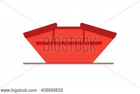 Skip Bin Is A Large Open-topped Waste Container. Red Skip Vector Icon