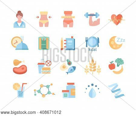 Large Set Of Diet And Nutrition Icons Depicting Healthy Fresh Food And Takeaways, Tape Measure, Diet