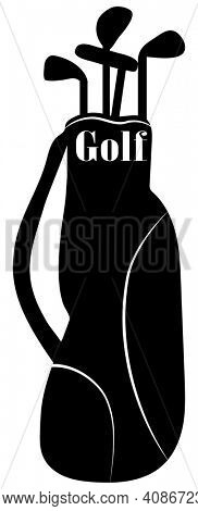 Golf Club Bag Silhouette over White Illustration with Clipping Path.