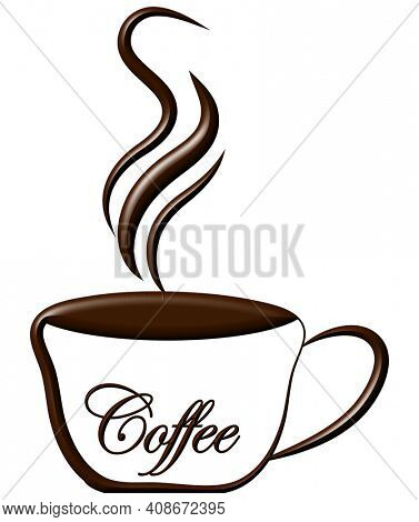 Hot Coffee Illustration with Clipping Path Isolated on White.
