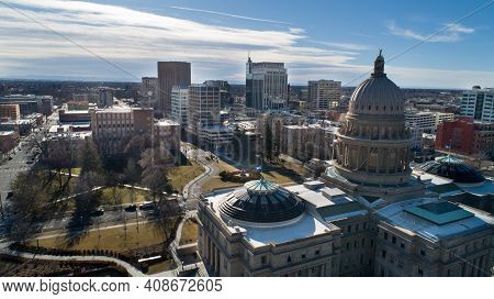 Boise, Idaho - February 7, 2021: Aerial View Of Downtown Boise From Behind Teh Capital Building