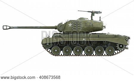First Operational Heavy Tank Of The Us Army World War Ii And Korean War. Side View On Isolated Backg