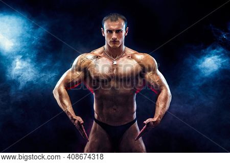 Close Up On Perfect Abs. Strong Bodybuilder With Six Pack.strong Bodybuilder Man With Perfect Abs, S