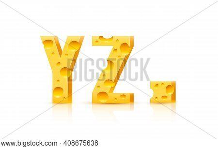 Cheese Font 3d Symbol, Letter Y Z Set. Vector