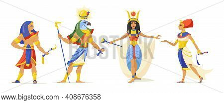 Egyptians Myths Heroes Set. Pharaoh, God Ra, Cleopatra Characters Isolated On White. Vector Illustra