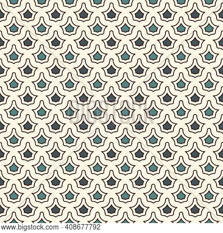 Interlocking Figures Tessellation Abstract Background. Repeated Geometric Shapes. Ethnic Mosaic Tile