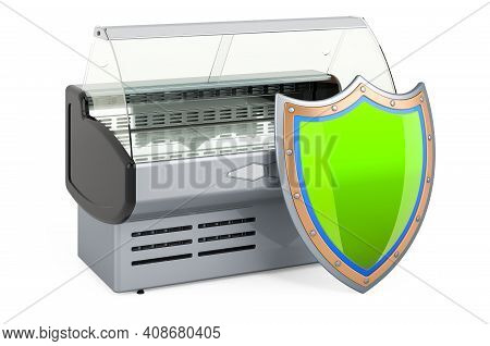 Refrigerated Display Case, Showcase With Shield. 3d Rendering Isolated On White Background