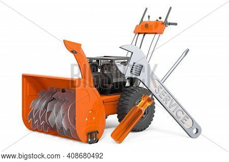 Service And Repair Of Snow Blower Machine, 3d Rendering Isolated On White Background
