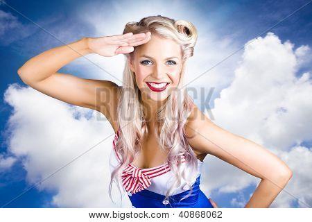 Australische Marine Mädchen salutieren Australien Tag