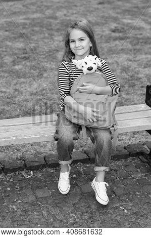 Play Nice, Stay Kind. Preschool Child Hold Toy Dog In Bag. Junior School Kid. Preschool Education. D