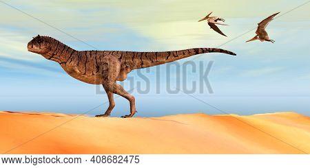 Carnotaurus Sastrei Dinosaur 3d Illustration - Pteranodon Flying Reptiles Follow A Carnotaurus Thero