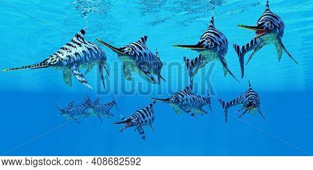 Eurhinosaurus Marine Reptiles 3d Illustration - A Eurhinosaurus Marine Reptile Pod Swim Together To