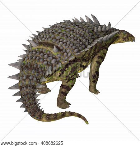 Hungarosaurus Dinosaur Tail 3d Illustration - Hungarosaurus Was A Herbivorous Armored Ankylosaur Din