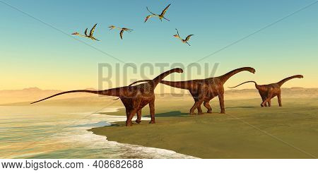 Malawisaurus Dinosaur Beach 3d Illustration - Quetzalcoatlus Reptiles Fly Out To Sea As A Herd Of Ma