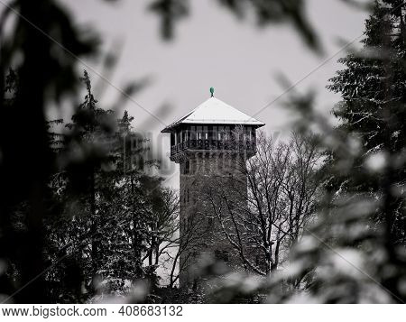 Herzberg Tower In The Taunus Forest In Winter Time Near Frankfurt Am Main, Hesse, Germany