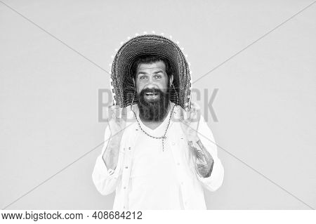 Guy Cheerful Festive Mood At Party. Summer Festival. National Holidays. Mexican Hat Sombrero. Guy Ha