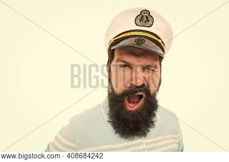 Winking Sailor Copy Space. Bearded Sailor Isolated On White. Navy And Marine. Sea Adventures Concept