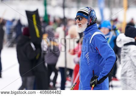 Russia, Naberezhnye Chelny, February 13, 2021: Many People With Skis In The Winter Park. In The Fore