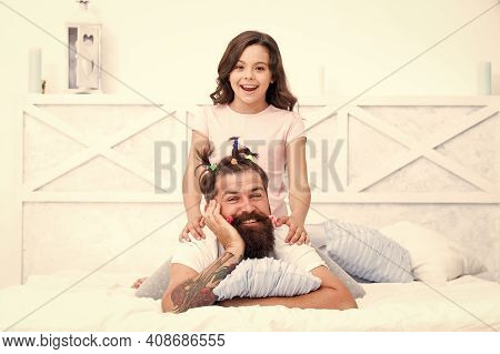 Quarantine With Children. Happy Family. Funny Hairstyle. Compressed Into Boundaries Of Home. Happy C