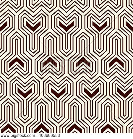 Interlocking Three Pronged Blocks Background. Winder Keys Motif. Ethnic Style Seamless Pattern With